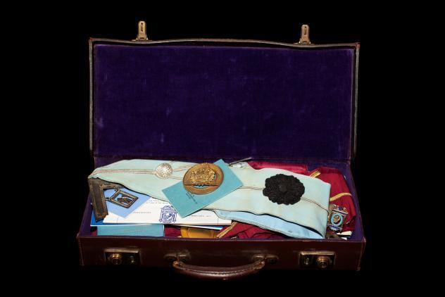 Freemason's suitcase with regalia ©Museum of Freemasonry