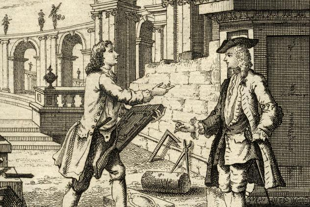 Detail from The Builder's Dictionary frontispiece (1734) ©Museum of Freemasonry