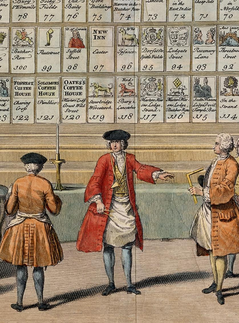 Detail from Picart's list of English lodges, c1735 ©Museum of Freemasonry, London