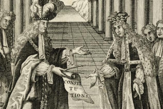Detail from Constitutions Frontispiece (1723) ©Museum of Freemasonry