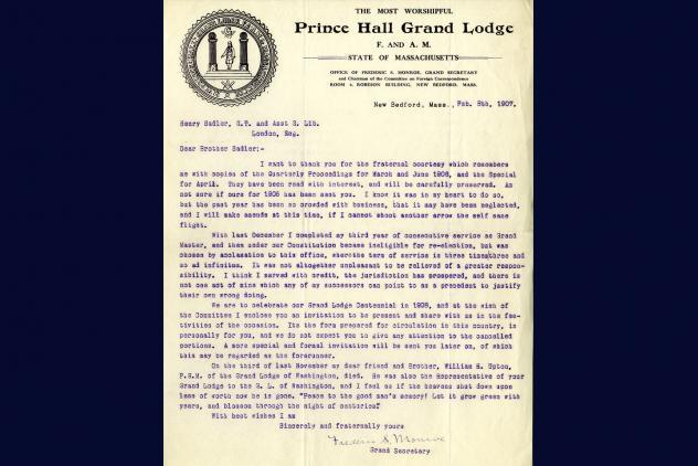 Letter from Monroe to Sadler (Feb 8 1907) ©Museum of Freemasonry