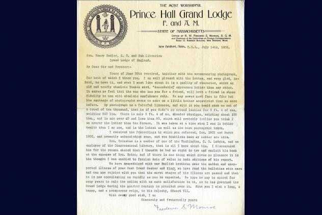 Letter from Monroe (14 July 1902)  ©Museum of Freemasonry