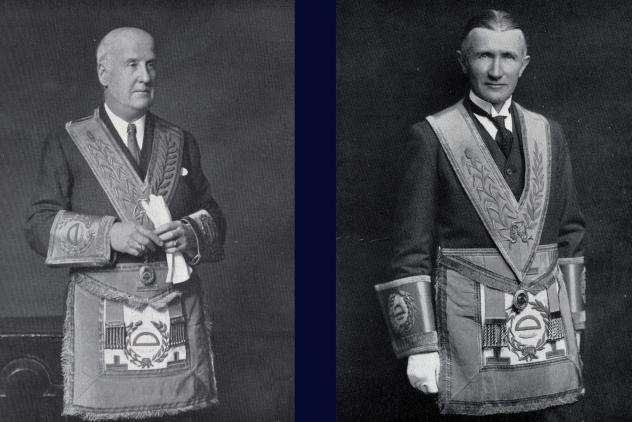 Architects Ashley and Newman in regalia ©Museum of Freemasonry, London