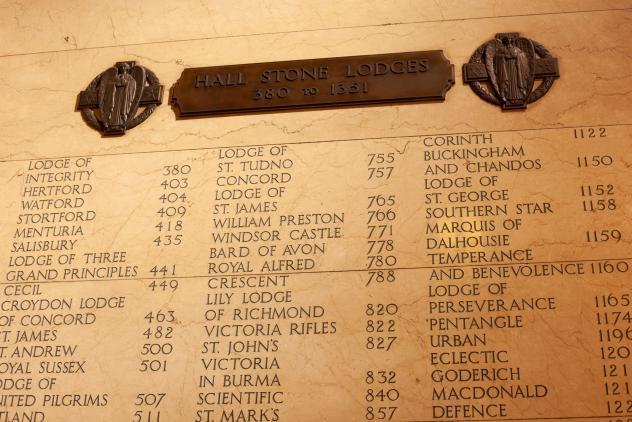 Hall Stone Lodges inscribed on the Vestibule walls ©Museum of Freemasonry, London