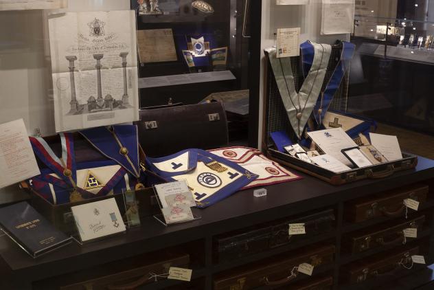 Suitcase display, North Gallery ©Museum of Freemasonry
