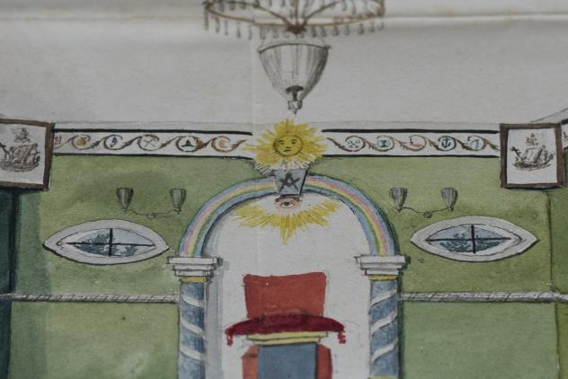 Watercolours of a lodge room, 1822 ©Museum of Freemasonry, London