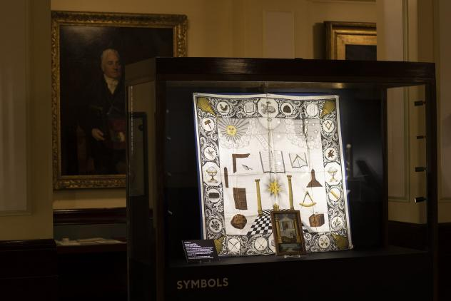 Symbols display from Phases by Lumen at Museum of Freemasonry ©Lumen and Museum of Freemasonry, London