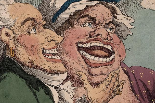 N. Dubois de Chémant demonstrating his own and a woman's false teeth to a prospective male patient with disordered teeth. Coloured etching by T. Rowlandson, 1811.. Credit Wellcome Collection. Public Domain Mark