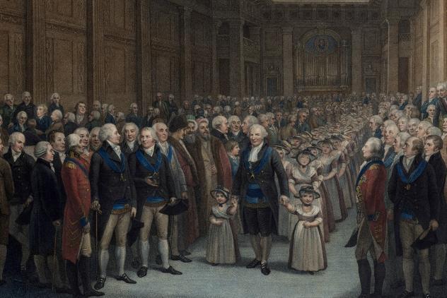 Ruspini leading the schoolchildren, Freemasons' Hall, 1802