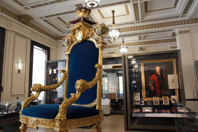 Grand Master's throne, Three centuries of English freemasonry, North Gallery, 2019 ©Museum of Freemasonry, London