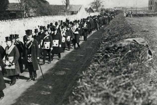 Freemason funeral procession, c1920