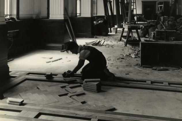 Classic photo of parquet flooring being installed, Freemasons' Hall, 1931 ©Museum of Freemasonry, London